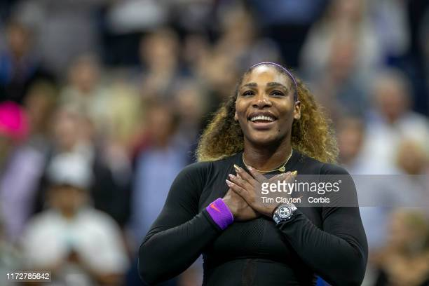 Open Tennis Tournament- Day Eleven. Serena Williams of the United States celebrates her victory against Elina Svitolina of the Ukraine after her on...