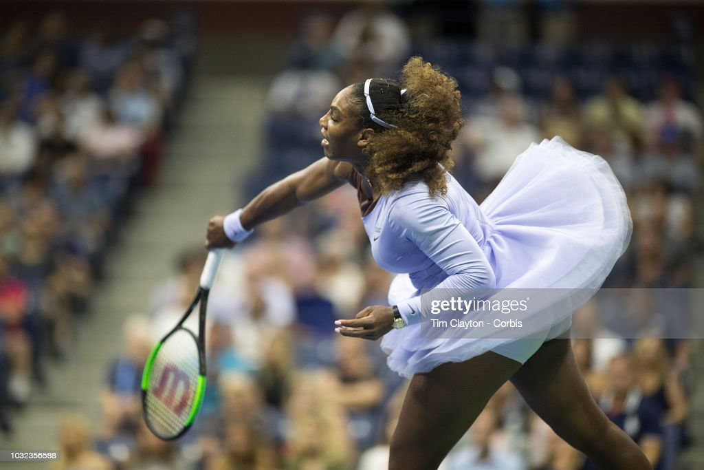 Open Tennis Tournament- Day Eleven. Serena Williams of the United States in action against Anastasija Sevastova of Latvia in the Women's Singles Semi Final match on Arthur Ashe Stadium at the 2018 US Open Tennis Tournament at the USTA Billie Jean King National Tennis Center on September 6th, 2018 in Flushing, Queens, New York City.