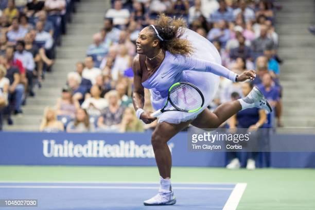 Open Tennis Tournament- Day Eleven. Serena Williams of the United States in action against Anastasija Sevastova of Latvia in the Women's Singles Semi...