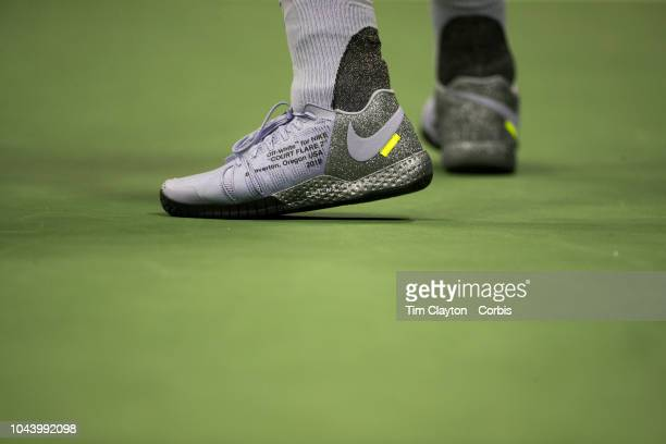 Open Tennis Tournament Day Eleven The tennis shoes of Serena Williams of the United States during her match against Anastasija Sevastova of Latvia in...