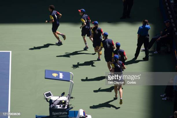 Open Tennis Tournament- Day Five. Ball boys and boy girls during the Roger Federer of Switzerland match against Daniel Evans of Great Britain in the...