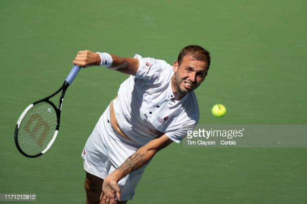 Open Tennis Tournament- Day Five. Daniel Evans of Great Britain in action against Roger Federer of Switzerland in the Men's Singles Round Three match...
