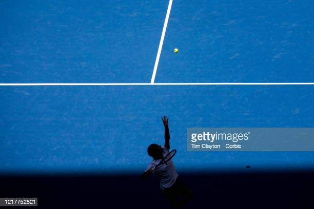 Open Tennis Tournament- Day Five. Roger Federer of Switzerland in action against Daniel Evans of Great Britain in the Men's Singles Round Three match...