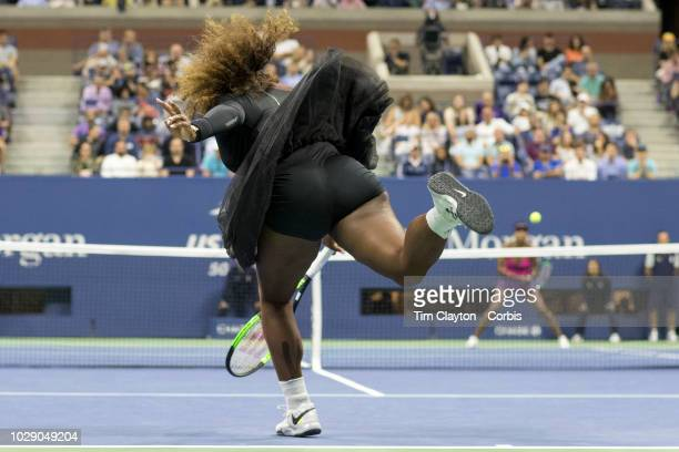 Open Tennis Tournament Day Five Serena Williams of the United States serving to sister Venus Williams of the United States in the Women's Singles...