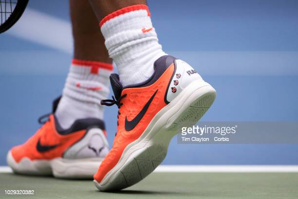 Open Tennis Tournament Day Five The tennis shoes of Rafael Nadal of Spain while serving against Karen Khachanov of Russia in the Men's Singles round...
