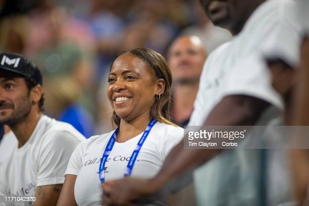 Open Tennis Tournament Day Four Candi Gauff mother of Coco Gauff of the United States in the stands after her victory against Time Babos of Hungary...