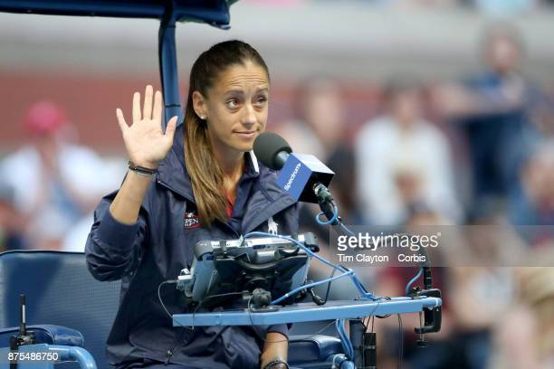 S Open Tennis Tournament DAY FOUR Chair Umpire Marijana Veljovic of Serbia during the Roger Federer of Switzerland against Mikhail Youzhny of Russia...
