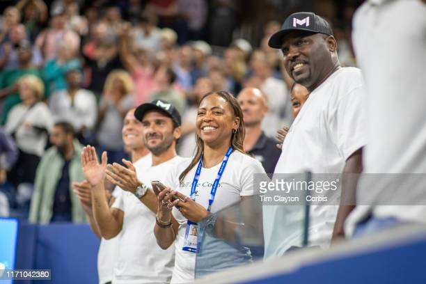 Open Tennis Tournament Day Four Corey Gauff and Candi Gauff parents of Coco Gauff of the United States in the stands after her victory against Time...