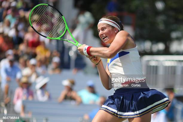 S Open Tennis Tournament DAY FOUR Jelena Ostapenko of Latvia in action against Sorana Cirstea of Romania during the Women'u2019s Singles round two...