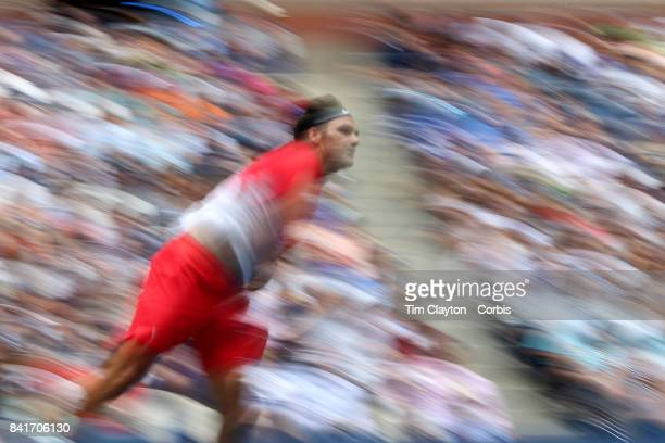 S Open Tennis Tournament DAY FOUR RogerFederer of Switzerland in action against Mikhail Youzhny of Russia during the Men's Singles round two match...
