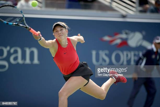 S Open Tennis Tournament DAY FOURTEEN Amanda Anisimova of the United States in action against Cori Gauff of the United States in the Junior Girls'...