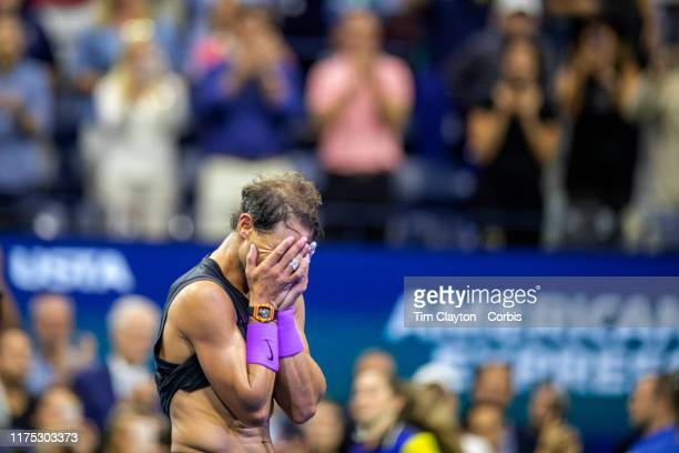 Open Tennis Tournament Day Fourteen An exhausted Rafael Nadal of Spain emotional after his victory against Danill Medvedev of Russia in the Men's...