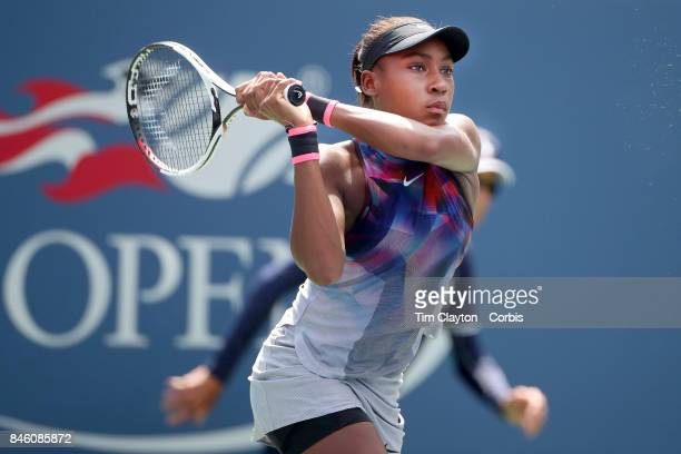 S Open Tennis Tournament DAY FOURTEEN Cori Gauff of the United States in action against Amanda Anisimova of the United States in the Junior Girls'...