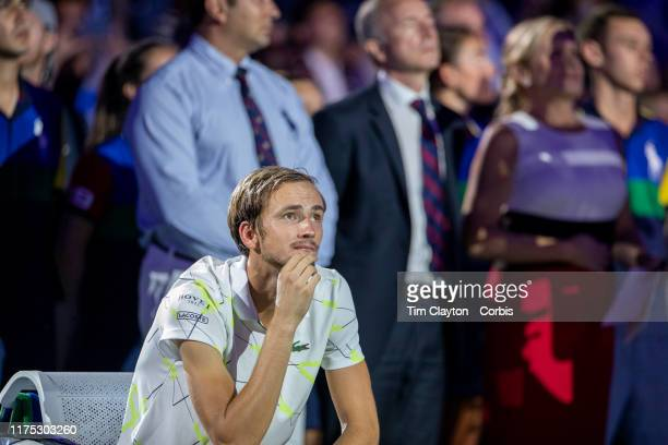 Open Tennis Tournament Day Fourteen Danill Medvedev of Russia watches the big screens showing Rafael Nadal of Spain winning multiple grand slams as...