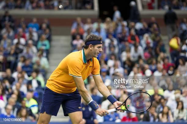 Open Tennis Tournament Day Fourteen Juan Martin Del Potro of Argentina in action against Novak Djokovic of Serbia in the Men's Singles Final on...
