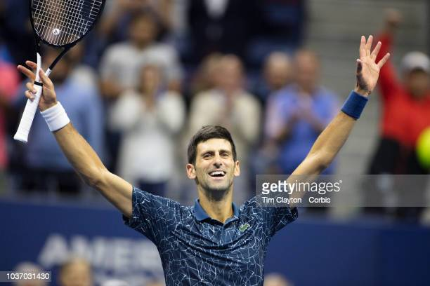 Open Tennis Tournament Day Fourteen Novak Djokovic of Serbia celebrates his victory against Juan Martin Del Potro of Argentina in the Men's Singles...