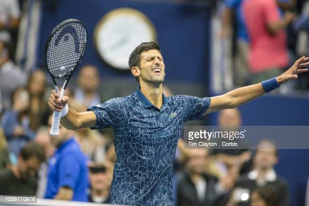 Open Tennis Tournament- Day Fourteen. Novak Djokovic of Serbia celebrates his victory against Juan Martin Del Potro of Argentina in the Men's Singles...