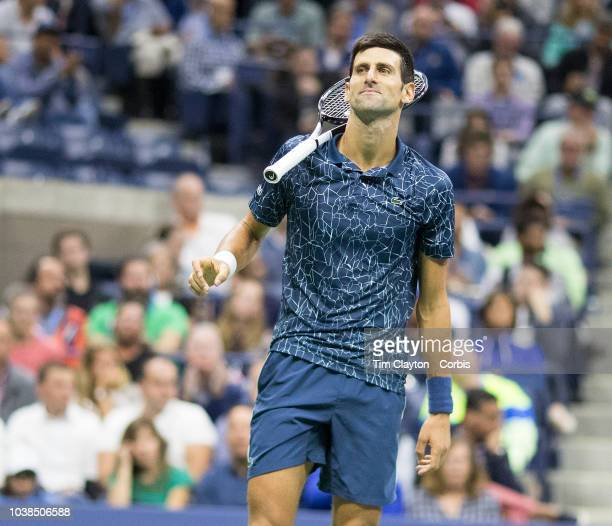 Open Tennis Tournament Day Fourteen Novak Djokovic of Serbia in action against Juan Martin Del Potro of Argentina in the Men's Singles Final on...