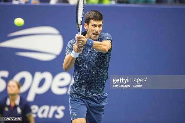Open Tennis Tournament- Day Fourteen. Novak Djokovic of Serbia in action against Juan Martin Del Potro of Argentina in the Men's Singles Final on...