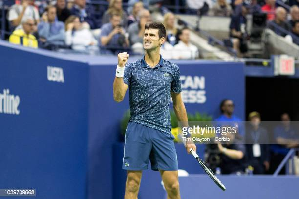 Open Tennis Tournament Day Fourteen Novak Djokovic of Serbia reacts to his team during his match against Juan Martin Del Potro of Argentina in the...