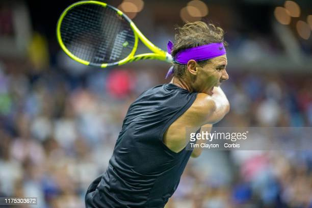 Open Tennis Tournament Day Fourteen Rafael Nadal of Spain in action against Danill Medvedev of Russia in the Men's Singles Final on Arthur Ashe...