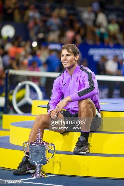 Open Tennis Tournament Day Fourteen Rafael Nadal of Spain with the winners trophy after his victory against Danill Medvedev of Russia in the Men's...