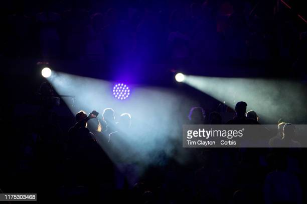 Open Tennis Tournament Day Fourteen Spectators caught in the spotlights during the trophy presentations after Rafael Nadal of Spain winning in five...