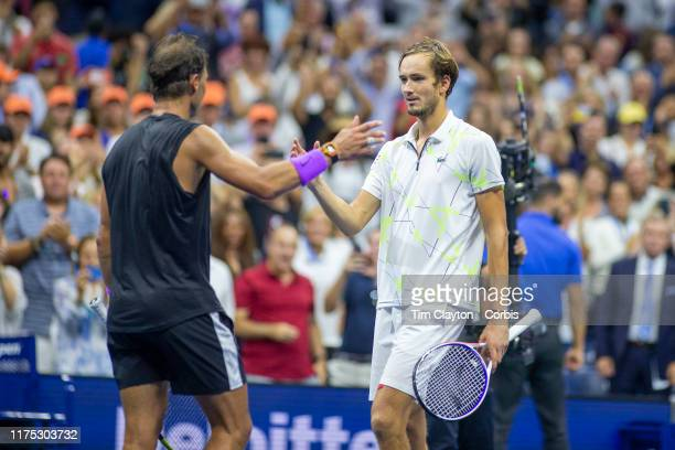 Open Tennis Tournament Day Fourteen Winner Rafael Nadal of Spain is congratulated by Danill Medvedev of Russia at the end of the Men's Singles Final...