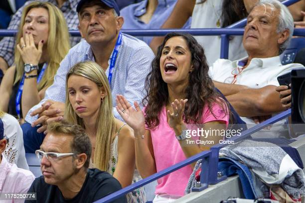 Open Tennis Tournament Day Fourteen Xisca Perelló girlfriend of Rafael Nadal of Spain shouts her encouragement from the stands during his match...