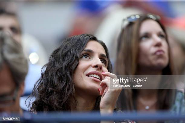 S Open Tennis Tournament DAY FOURTEEN Xisca Perello partner of Rafael Nadal of Spain watches the Men's Singles Final at the US Open Tennis Tournament...