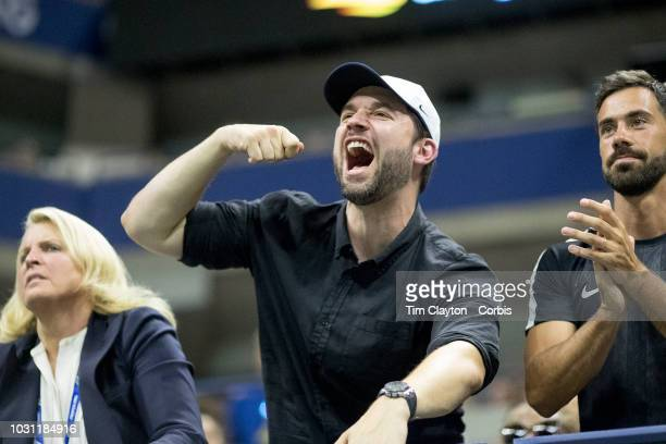 Open Tennis Tournament Day Nine Alexis Ohanian husband of Serena Williams of the United States celebrates a point during her victory against...