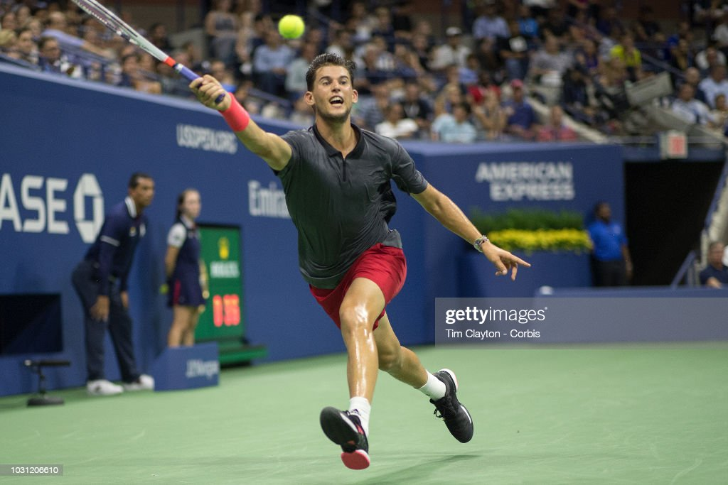 Open Tennis Tournament- Day Nine. Dominic Thiem of Austria in action against Rafael Nadal of Spain in the Men's Singles Quarter Finals match on Arthur Ashe Stadium at the 2018 US Open Tennis Tournament at the USTA Billie Jean King National Tennis Center on September 4th, 2018 in Flushing, Queens, New York City.
