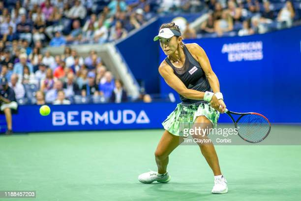 Open Tennis Tournament- Day Nine. Qiang Wang of China in action against Serena Williams of the United States in the Women's Singles Quarter-Finals...