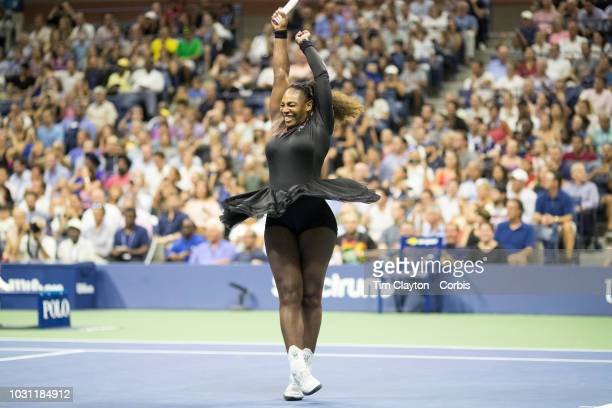 Open Tennis Tournament Day Nine Serena Williams of the United States celebrates her victory with a twirl during her match against KarolinaPliskova...