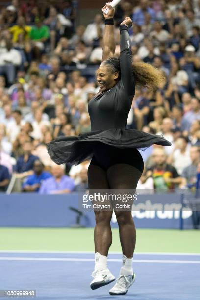 Open Tennis Tournament Day Nine Serena Williams of the United States celebrates her win against KarolinaPliskova of the Czech Republic in the...
