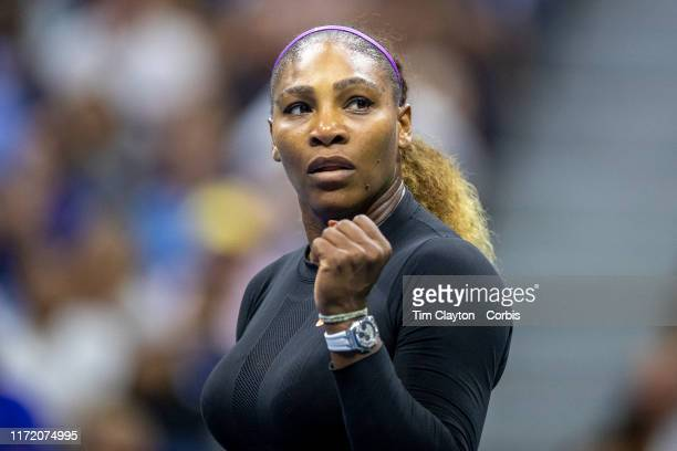 Open Tennis Tournament- Day Nine. Serena Williams of the United States celebrates her victory against Qiang Wang of China in the Women's Singles...