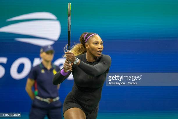 Open Tennis Tournament Day Nine Serena Williams of the United States in action against Qiang Wang of China in the Women's Singles QuarterFinals match...