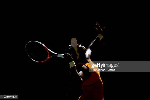 Open Tennis Tournament Day Nine Sloane Stephens of the United States in action against Anastasija Sevastova of Latvia in the Women's Singles Quarter...