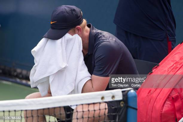 Open Tennis Tournament Day One A dejected Kyle Edmund of Great Britain during his loss against Paolo Lorenzi of Italy on Court thirteen at the 2018...