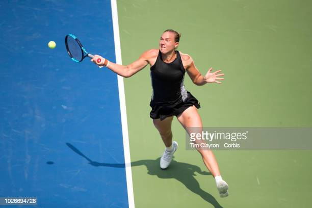 Open Tennis Tournament- Day One. Kala Kanepi of Estonia in action during her win against Simona Halep of Romania on Louis Armstrong Stadium at the...