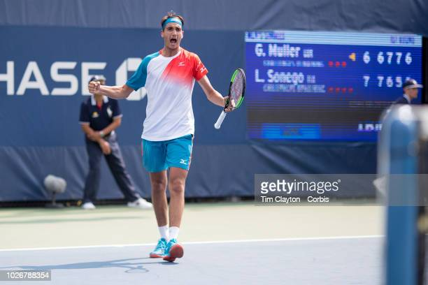 Open Tennis Tournament Day One Lorenzo Sonego of Italy celebrates winning the fourth set tie break against Gilles Muller of Luxembourg on Court...