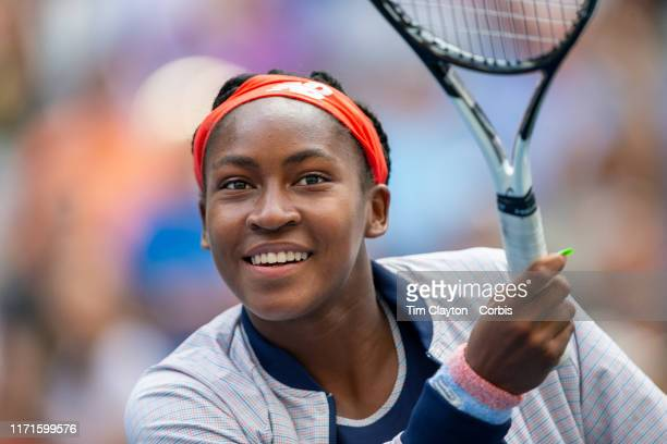 Open Tennis Tournament Day Seven A smiling Coco Gauff of the United States while hitting balls into the crowd after her victory with partner...