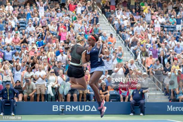 Open Tennis Tournament Day Seven Coco Gauff and Catherine McNally of the United States celebrate victory against Nicole Melichar of the United States...