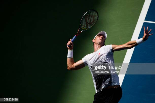 Open Tennis Tournament Day Seven Kevin Anderson of South Africa in action against Dominic Thiem of Austria in the Men's Singles round four match on...