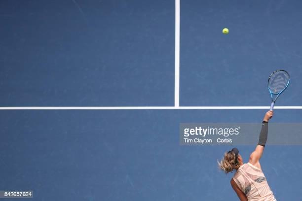S Open Tennis Tournament DAY SEVEN Maria Sharapova of Russia serving against Anastasija Sevastova of Latvia during the Women's Singles round four...