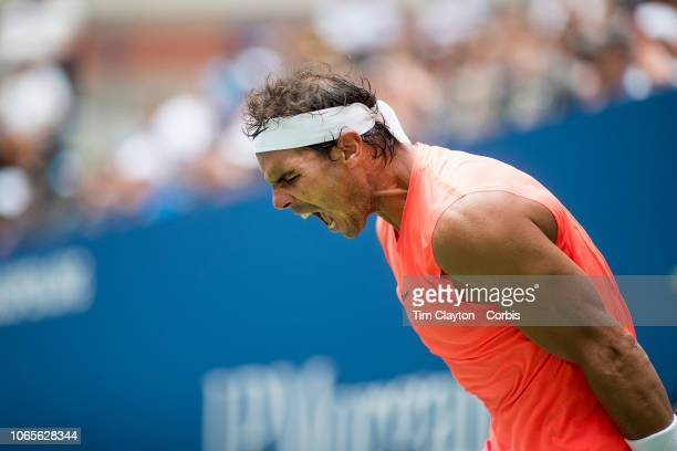 Open Tennis Tournament Day Seven Rafael Nadal of Spain reacts during his match against Nikoloz Basilashvili of Georgia in the Men's Singles round...
