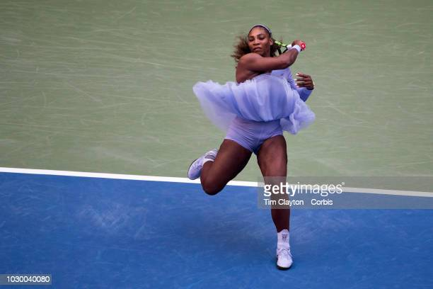 Open Tennis Tournament Day Seven Serena Williams of the United States in action against Kaia Kanepi of Estonia in the Women's Singles round four...