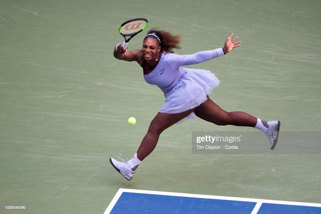 Open Tennis Tournament- Day Seven. Serena Williams of the United States in action against Kaia Kanepi of Estonia in the Women's Singles round four match on Arthur Ashe Stadium at the 2018 US Open Tennis Tournament at the USTA Billie Jean King National Tennis Center on September 2nd, 2018 in Flushing, Queens, New York City.