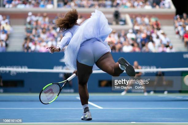 Open Tennis Tournament Day Seven Serena Williams of the United States in action against Kaia Kanepi of Estonia in the Women's Singles round four...