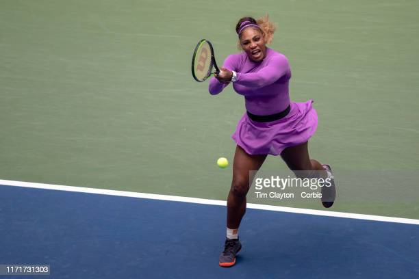 Open Tennis Tournament- Day Seven. Serena Williams of the United States in action against Petra Martic of Croatia in the Women's Singles round four...